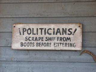Politicians! Scrape boots!