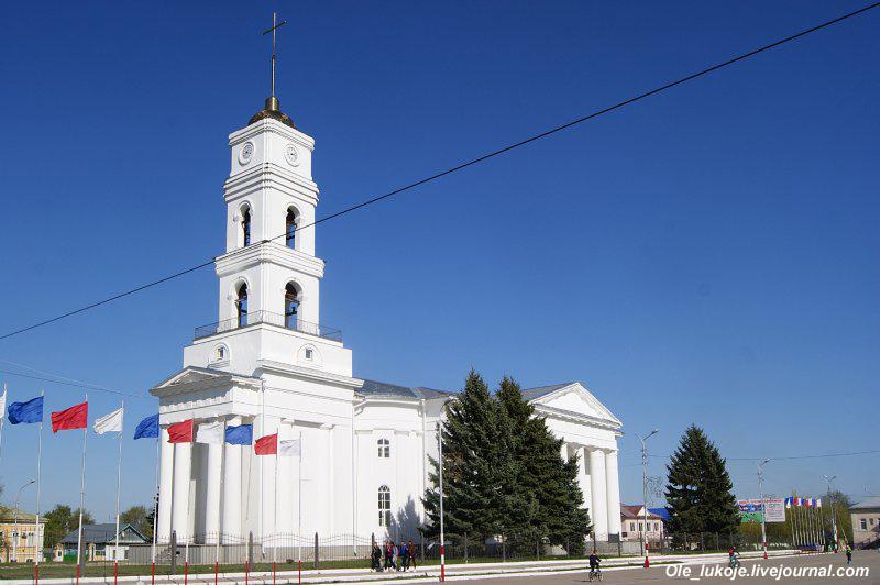 Лютеранский храм Святой Троицы 1846-го года - доминанта городской площади. В советское время храм разделил участь православных церквей: был превращён в дом культуры и потерял колокольню.