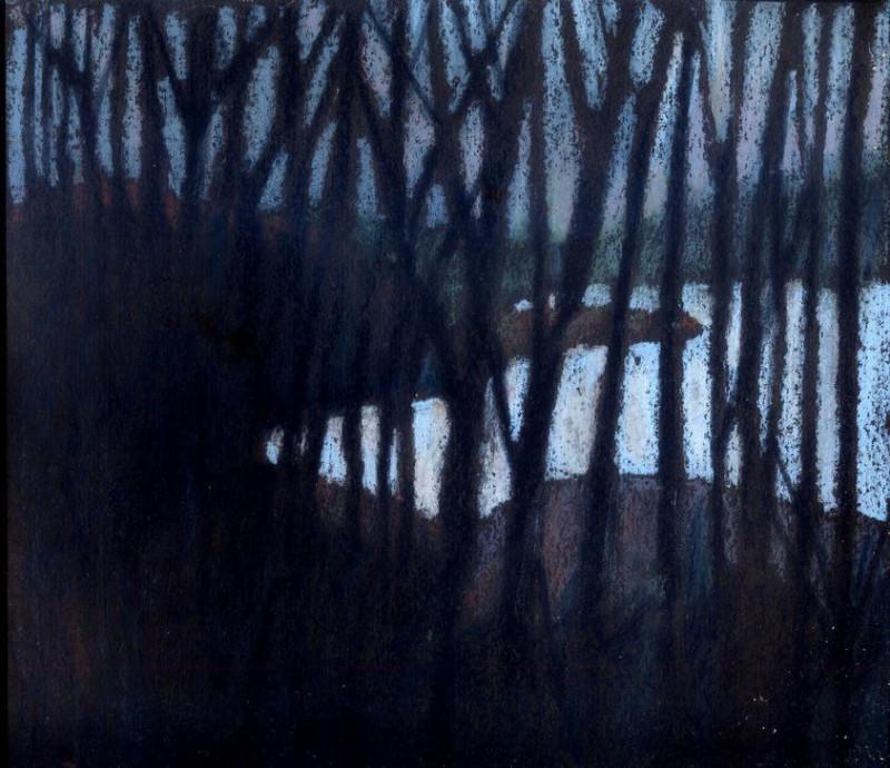 Вид из окна поезда. 201922,5 х 25 см.масл. пастель#oil_pastel, #масляная_пастель, #oilpastel