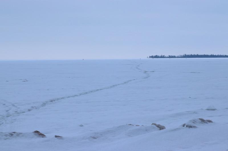 В сторону острова Голомянного протоптана рыбацкая тропа. До острова больше 3 км