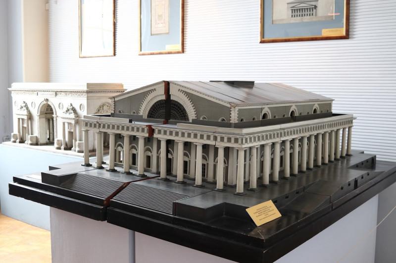 Проектная модель здания Биржи. 1804 г. Выполнена из дерева и окрашена масляной краской.