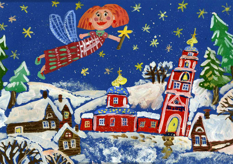 Рождественские открытки нарисованные детьми, нарисовать открытку день