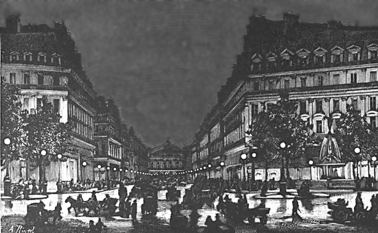 Yablochkov_candles_illuminating_Avenue_de_l'Opera_ca1878