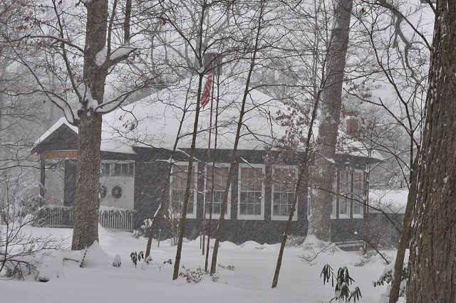 town hall in snow