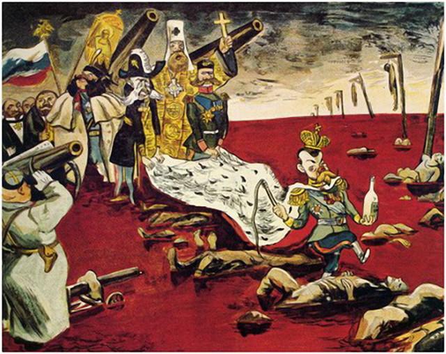 старая карикатура на Николая II