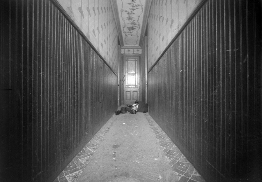 New York Police Department evidence photo, homicide scene. Jos Kellner, 404 East 54th Street, murdered in hallway, on January 7, 1916. (Courtesy NYC Municipal Archives)