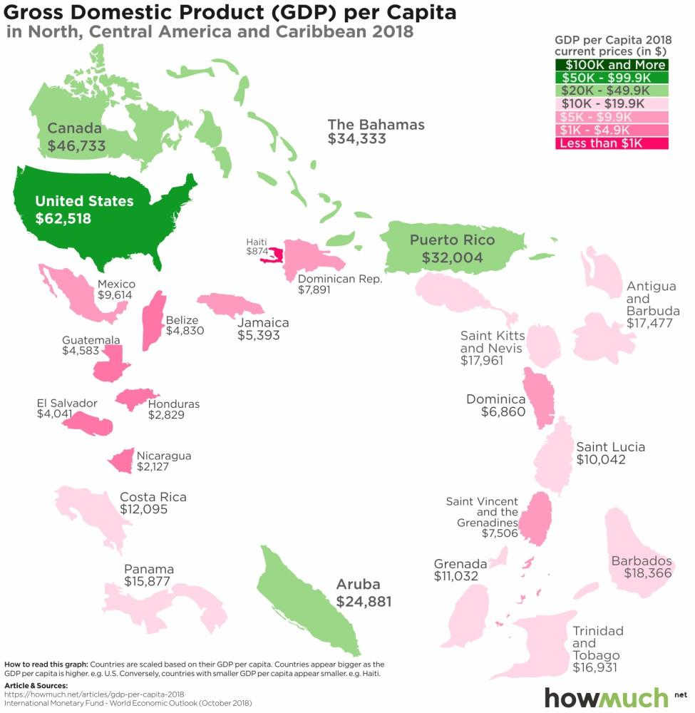 ВВП на душу насления по номинaлу 2018 Северная Америка