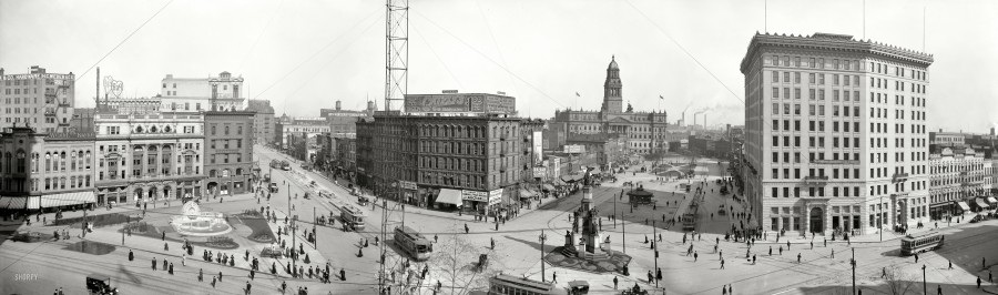 1907. The Campus Martius. Landmarks include the Detroit Opera House, Soldiers' and Sailors' Monument, Cadillac Square, Wayne County Building, Hotel Pontchartrain