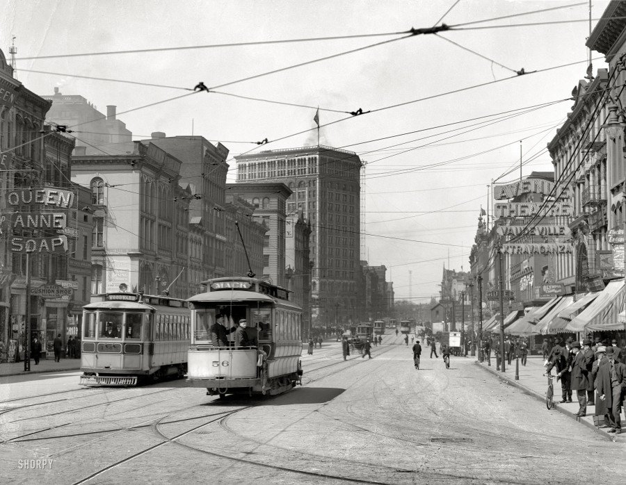 1905. Woodward Avenue looking north. The soap-and-theater district