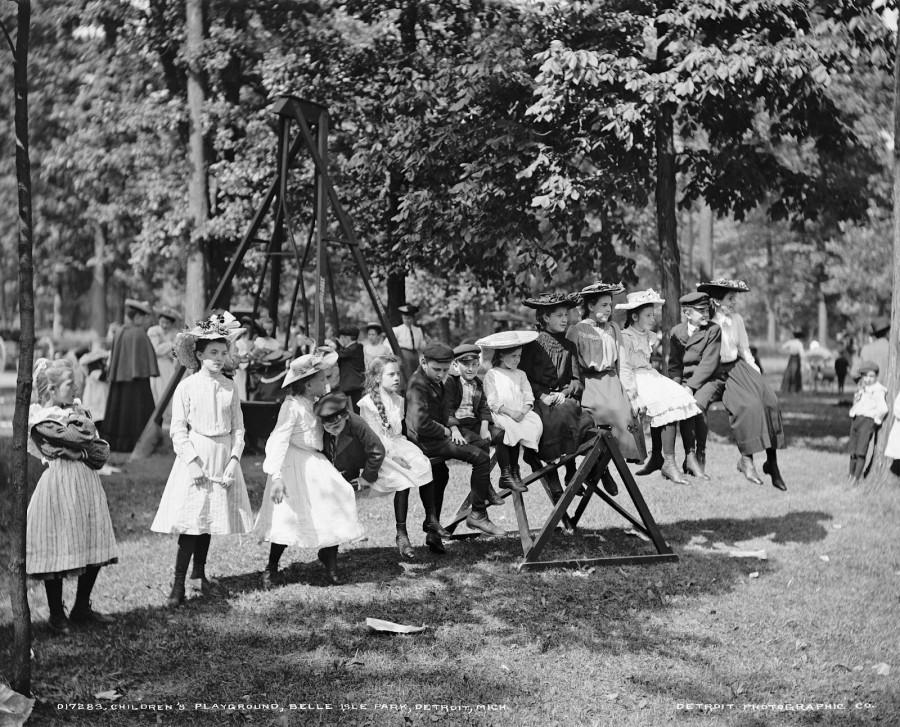 Children's playground, Belle Isle Park, Detroit, Michigan, 1900-1905