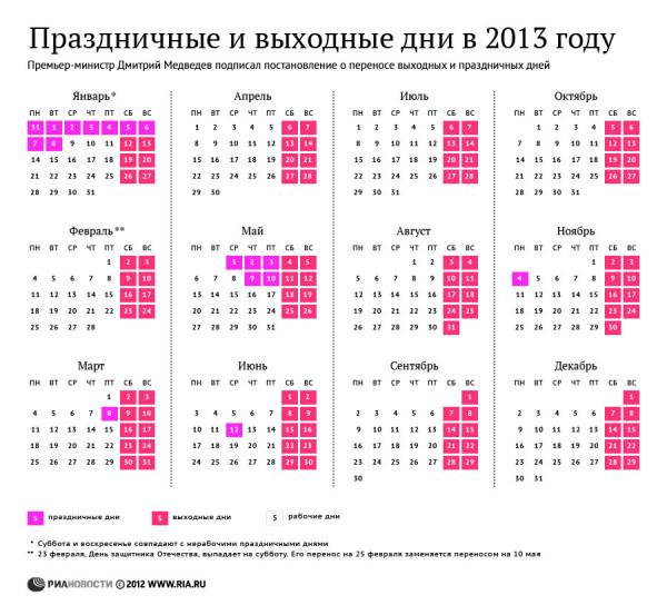 праздничные и выходные в 2013 году