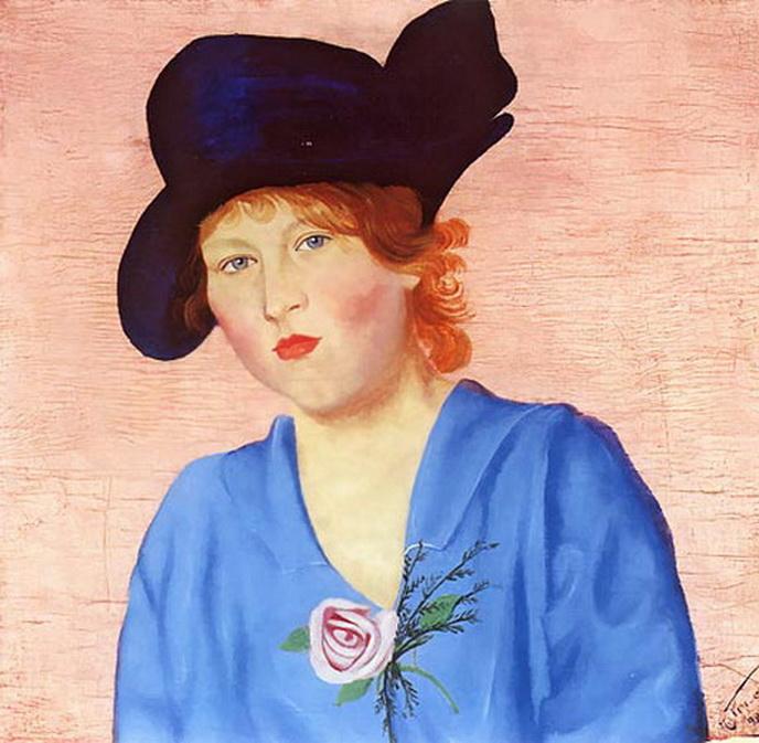 Попов. Портрет женщины в синей шляпе. 1922