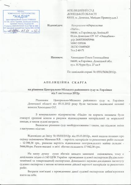 апелляционная жалоба КП Надия