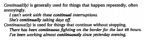 continually - continuously. разница