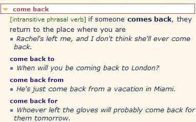 be back - come back - go back - return. разница 2