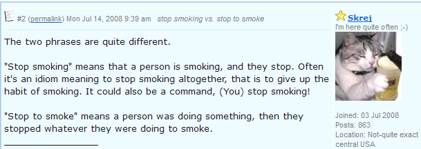 Stop smoking vs. Stop to smoke. разница