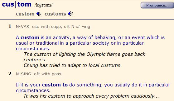 custom, customs, accustomed. разница. 1