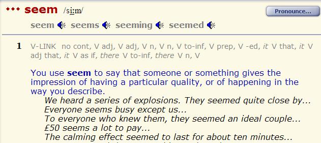 особенность глагола seem --