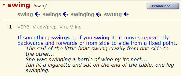 что значит СВИНГ в английском