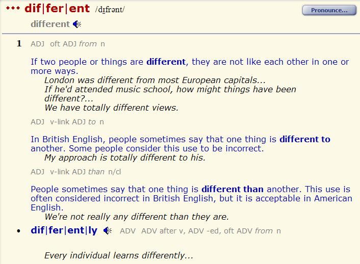 different - various. разница 1