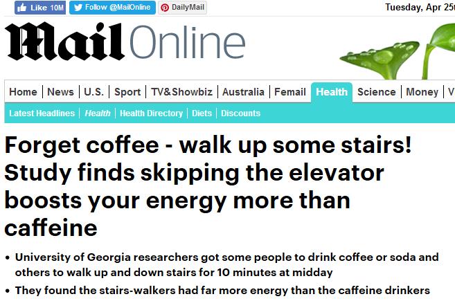 Ходьба по лестнице мотивирует сильнее, чем кофе