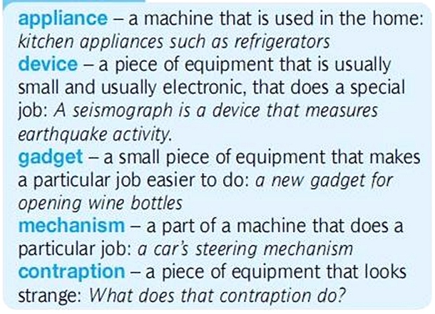 gadget - device - mechanism - appliance. разница