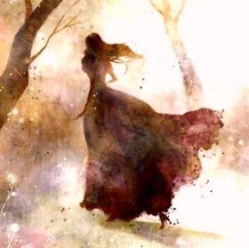 жен бегущая в лесу