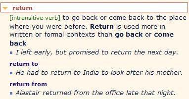 Копия come back - return разница