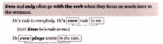 adverbs куда ставить even only