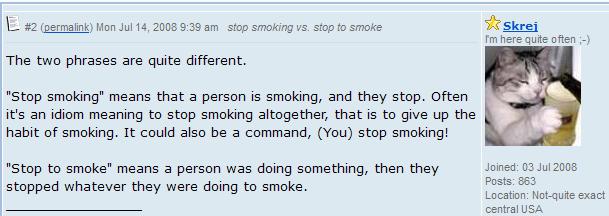 Stop smoking vs. Stop to smoke. разница 1