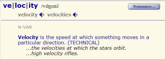 velocity - speed - rate. разница 1