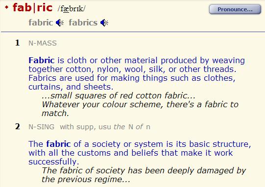 factory - fabric - cloth. разница.