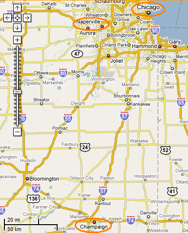 Google map of part of Illinois (annotated)
