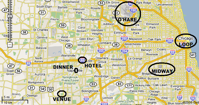 Google map of part of Chicago area (annotated)