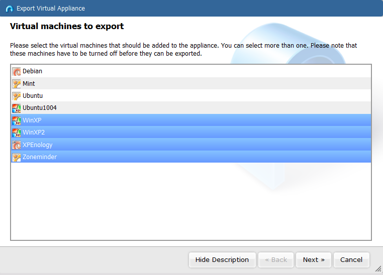 exportvms