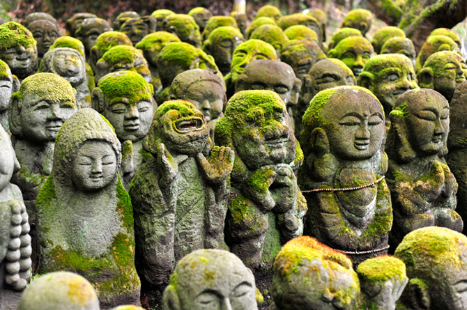 Stone Statues at Buddhist Temple in Kyoto