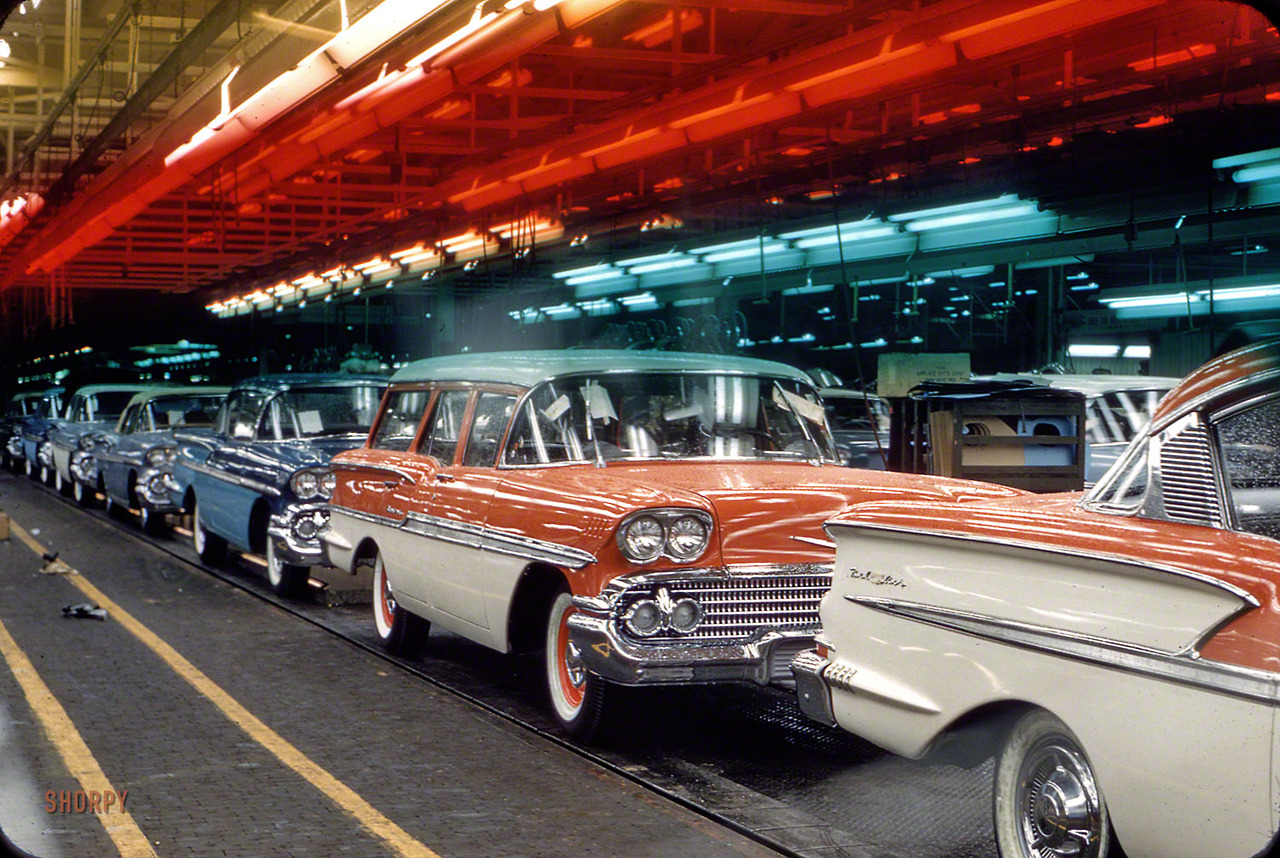 Oct 1957 Assembly line with 1958 Chevrolets