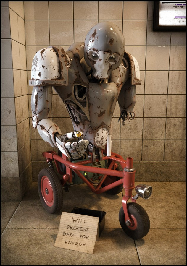 старый робот заржавел