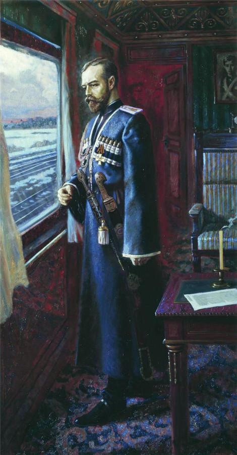 Николай II в салон-вагоне