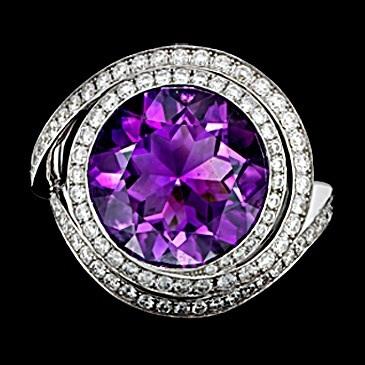 кольцо с брилл и аметистом