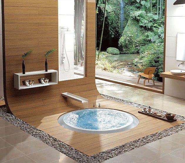 дзен-ванна с водопадом за окном