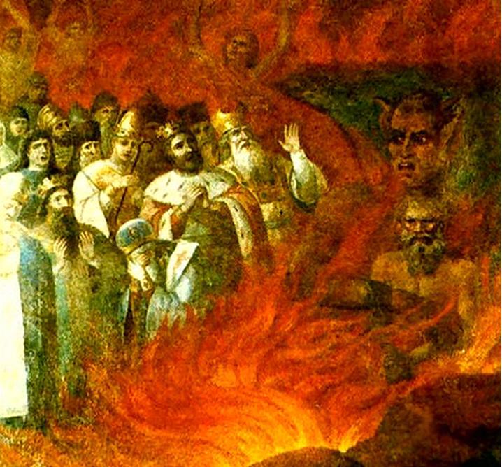 Л Толстой в Преисподней роспись церкви с Тазова, Курская губ