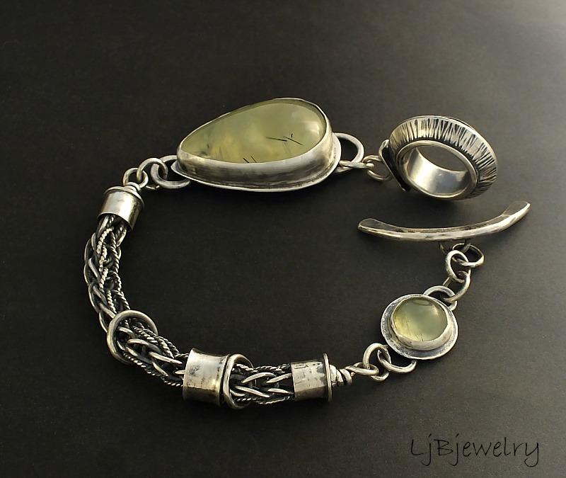 Silver Bracelet with Prehnite cabochons