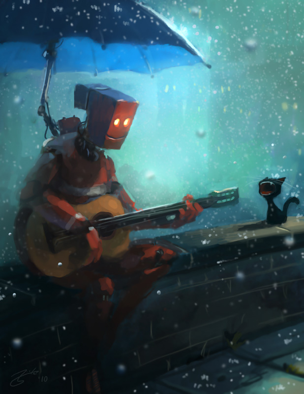 robot playing guitar to a cat in the rain