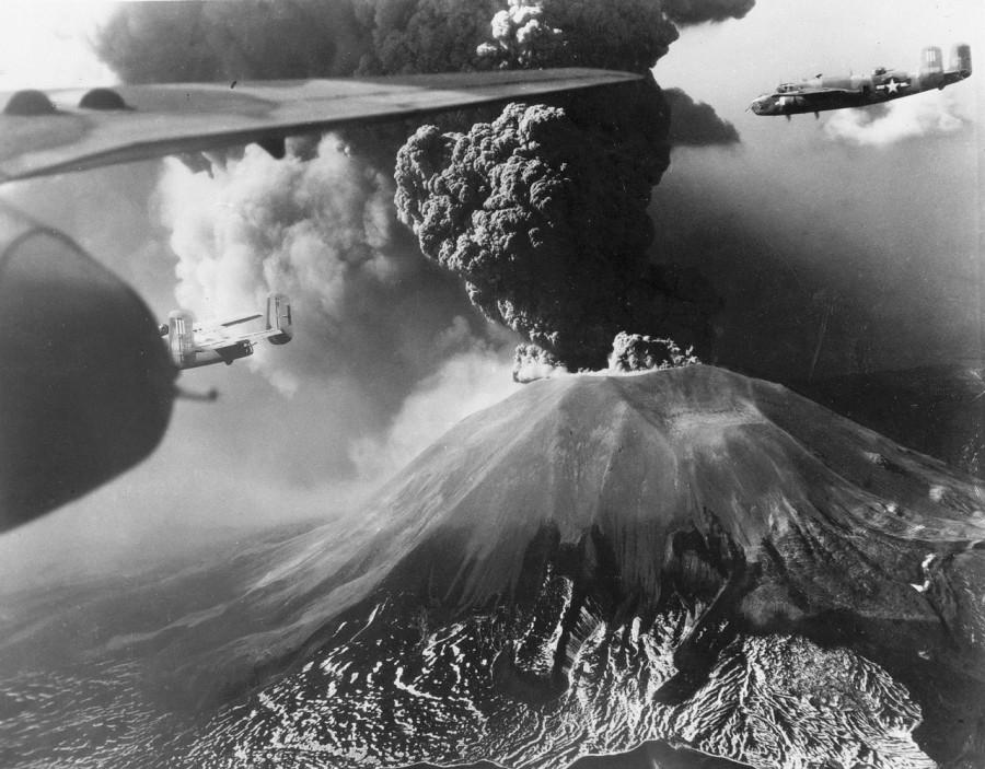 447th Squadron B-25s fly past erupting Vesuvius, 1944