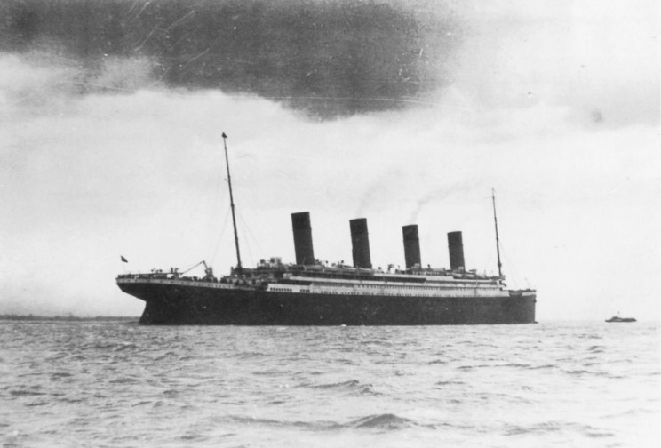Possibly the last photograph taken of the Titanic as she departs Queenstown on April 11, 1912.