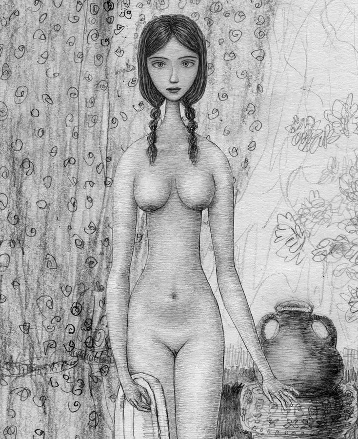 Девушка с полотенцем Карандашная EE69-17-900h