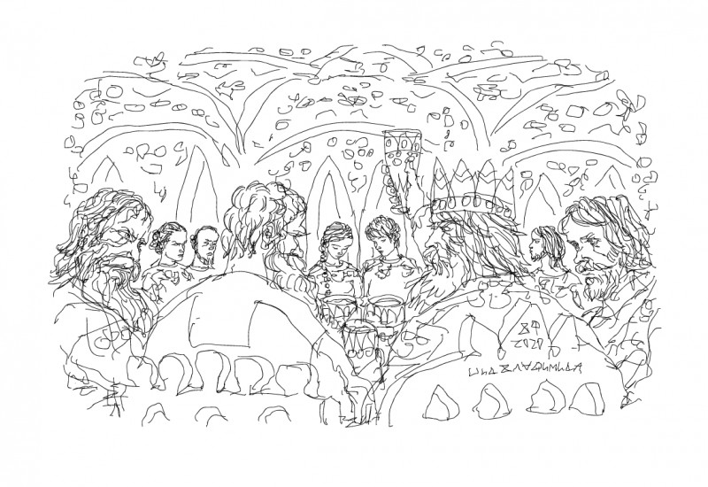 Передний ряд: Добрыня, Илья, Владимир, Алёша
