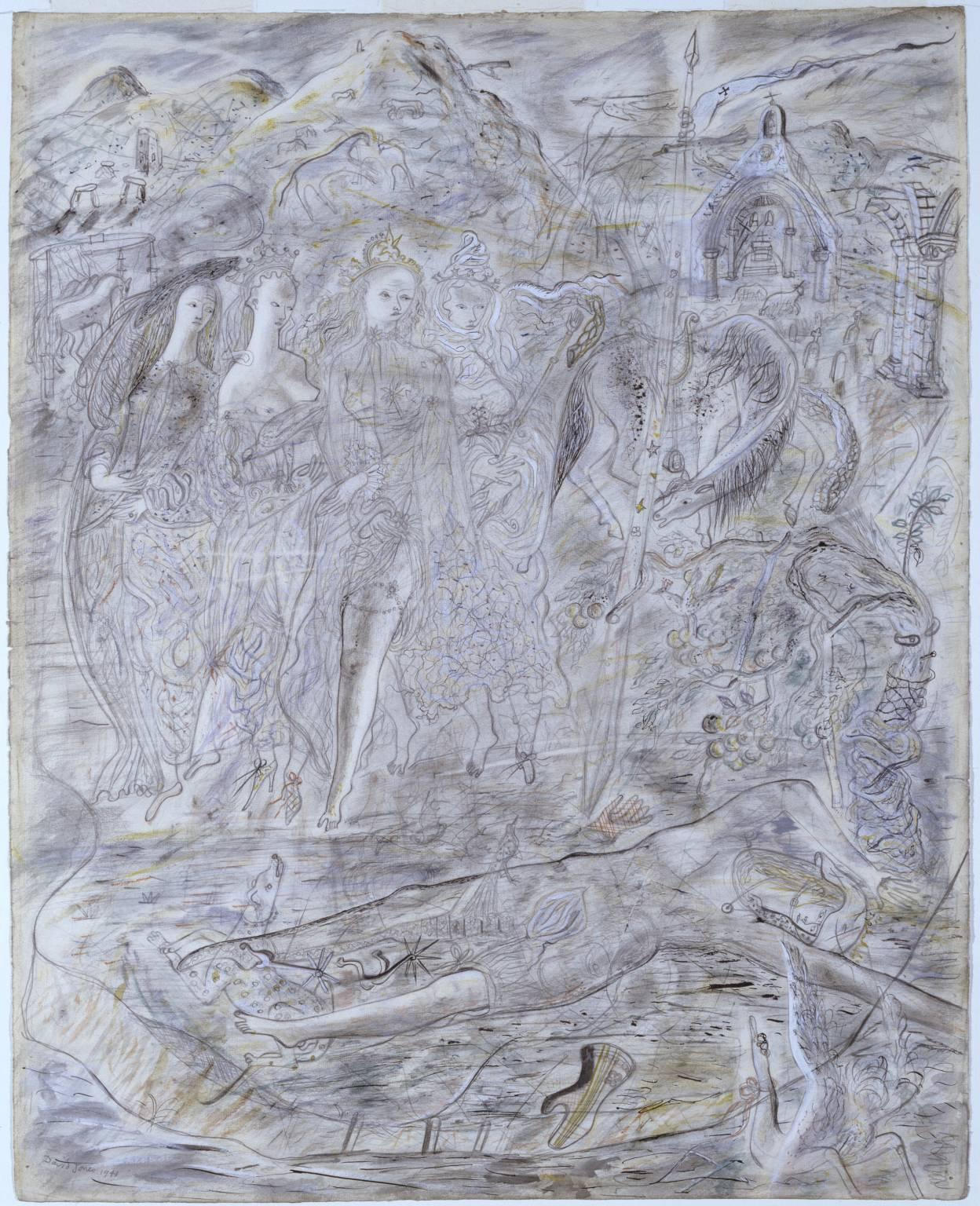 Иллюстрация к Артуровскому циклу (Четыре Королевы и Спящий Ланселот)