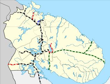 Кольская железная дорога 1951-53 Зелёным цветом показан маршрут Кольской дороги Черным цветом показана Мурманская ж-д